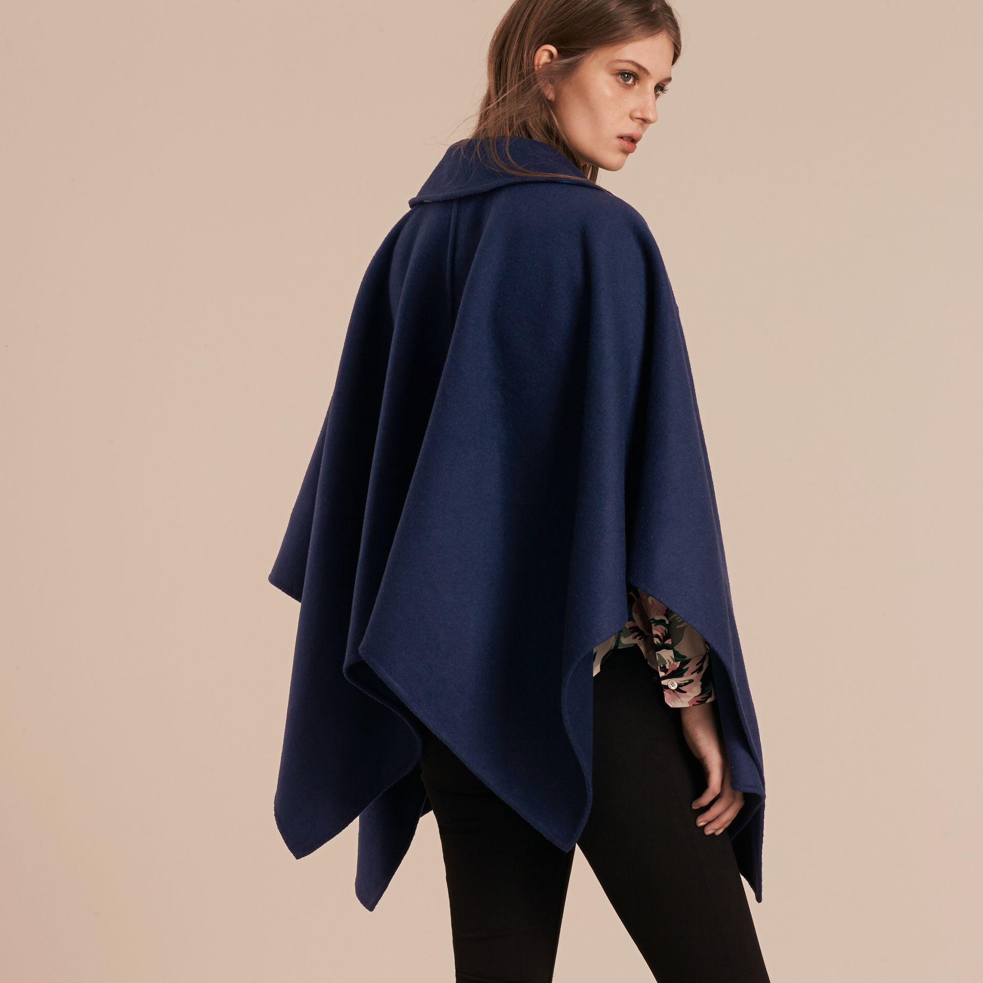 Navy Military Button Wool Cashmere Blend Cape Navy - gallery image 3