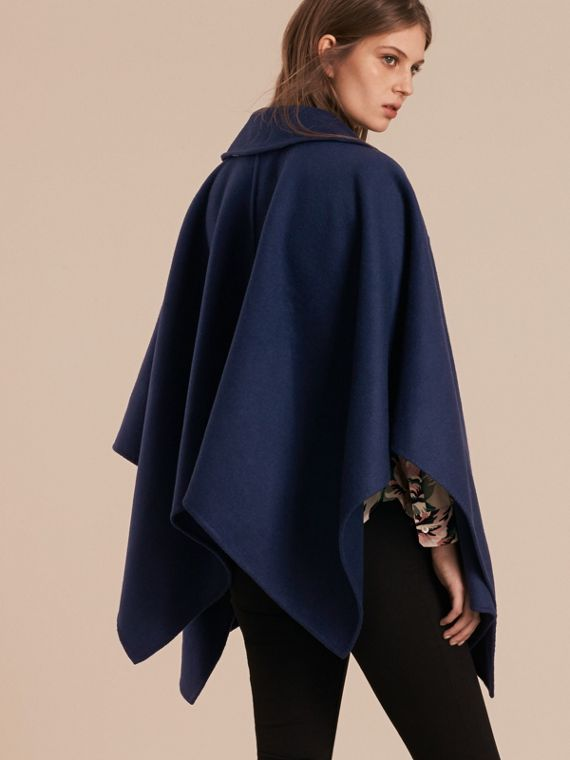 Navy Military Button Wool Cashmere Blend Cape Navy - cell image 2