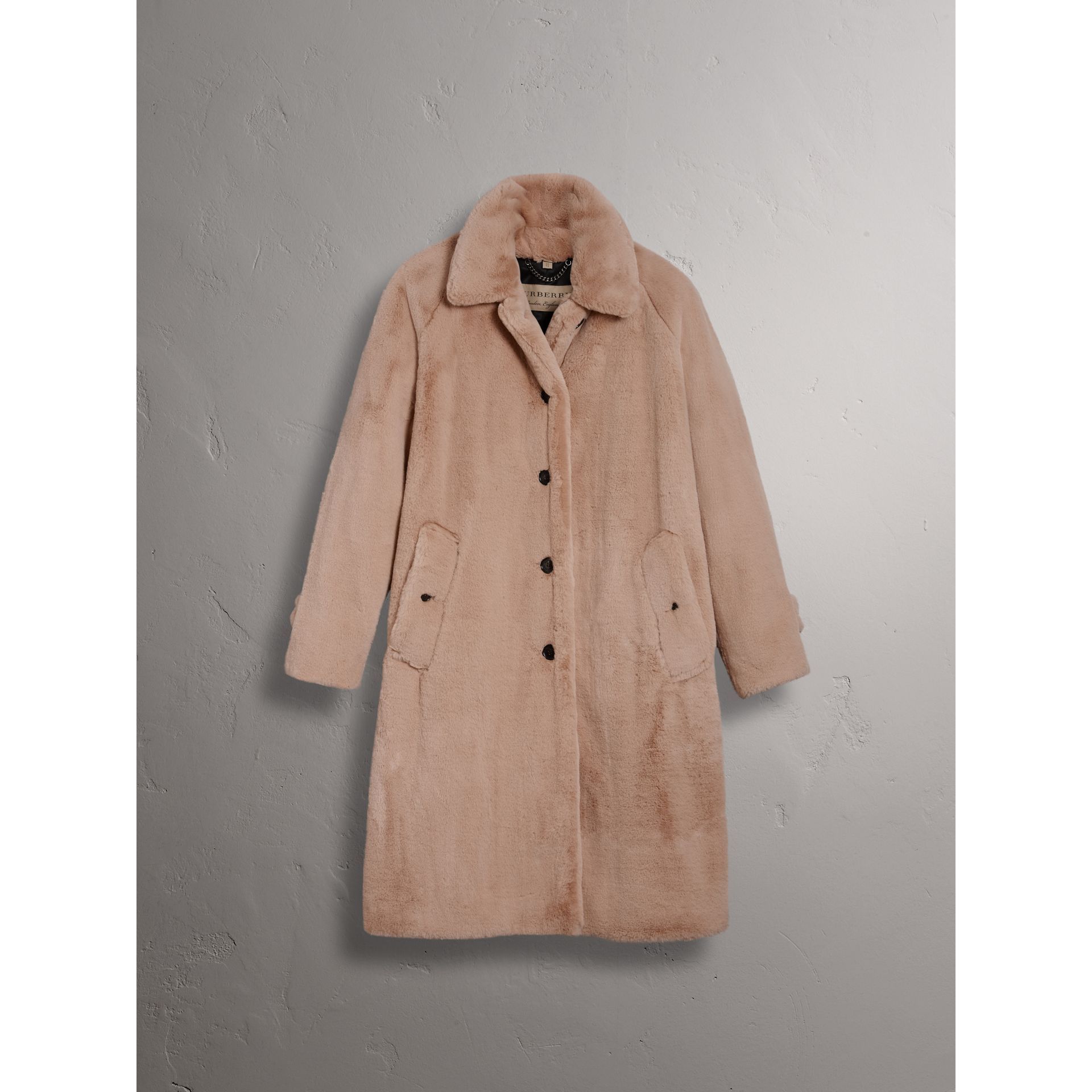 Faux Fur Single-breasted Car Coat in Nude - Women | Burberry - gallery image 4
