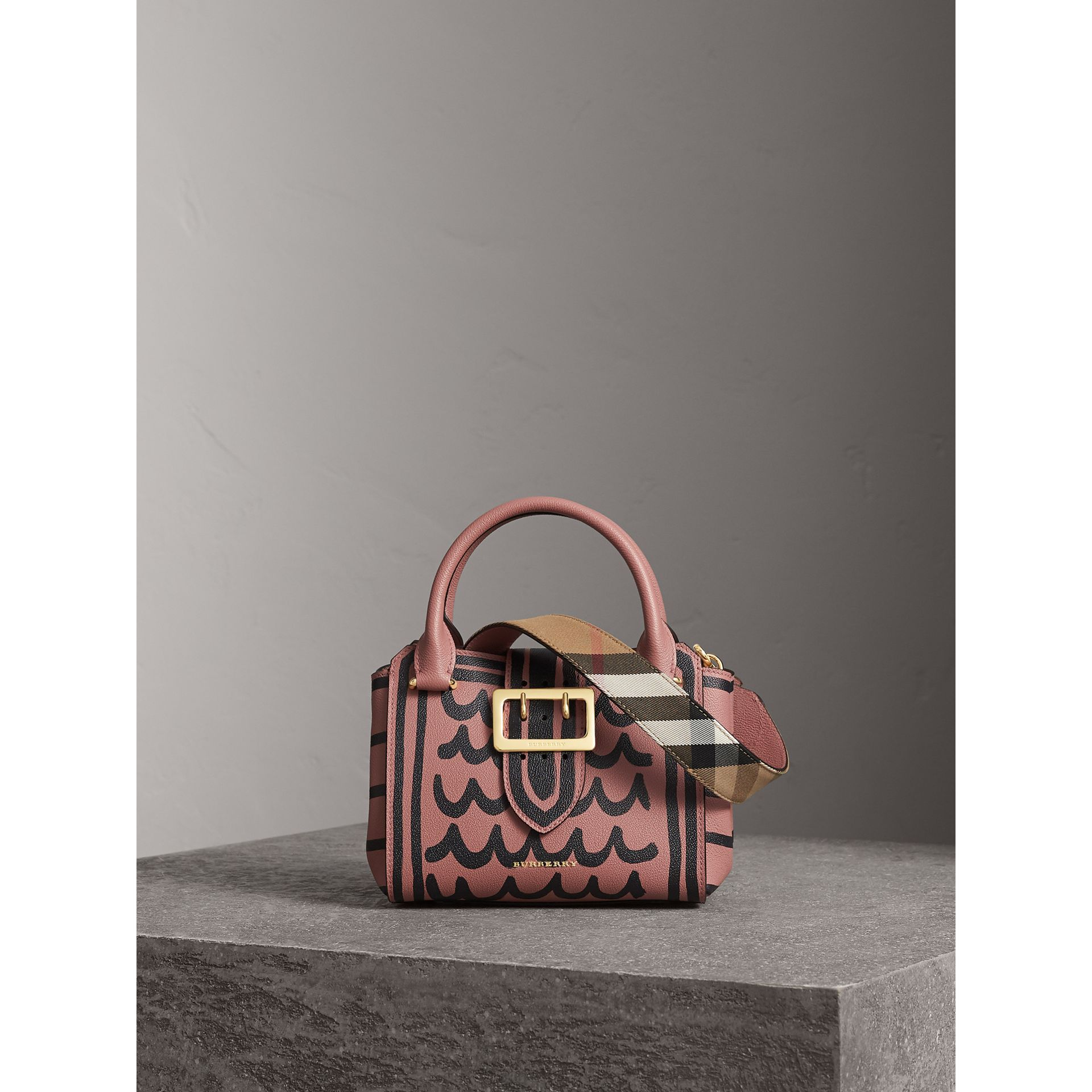 The Small Buckle Tote in Trompe L'oeil Print Leather in Dusty Pink - Women | Burberry - gallery image 1