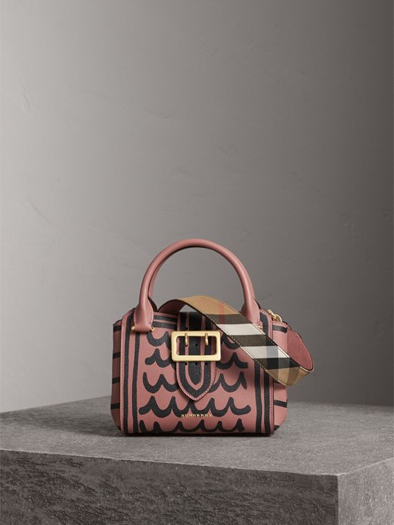 The Small Buckle Tote in Trompe L'oeil Print Leather in Dusty Pink