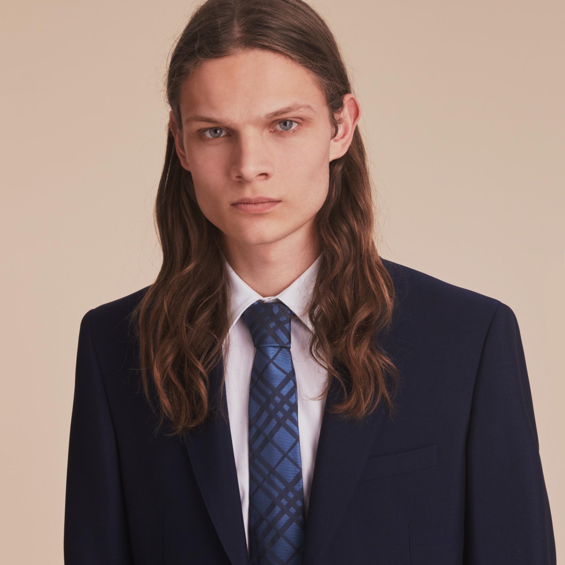 Modern Cut Check Silk Jacquard Tie in Brilliant Blue - gallery image 3