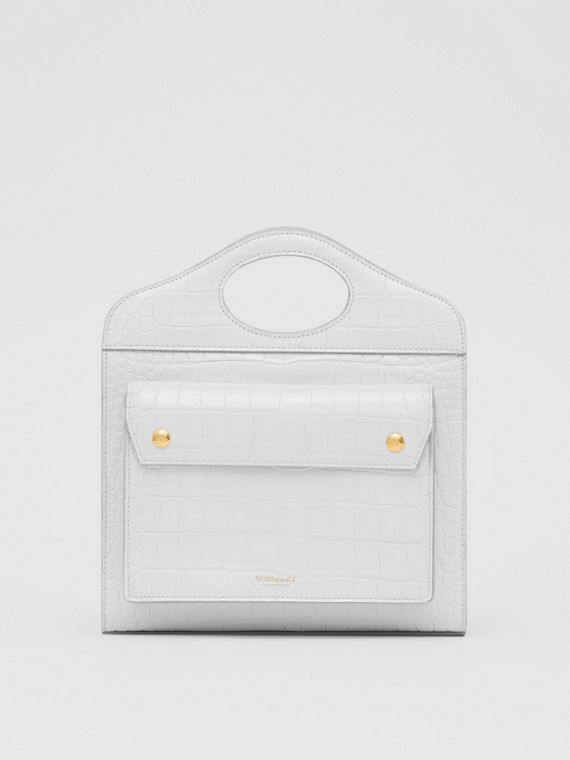 Mini Embossed Leather Pocket Bag in Light Pebble Grey