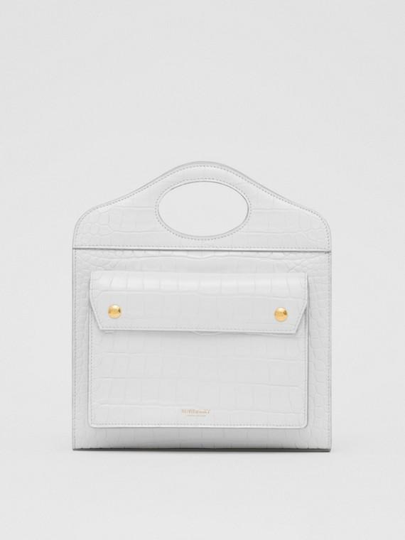 Bolso Pocket pequeño en piel grabada (Gris Guijarro Claro)