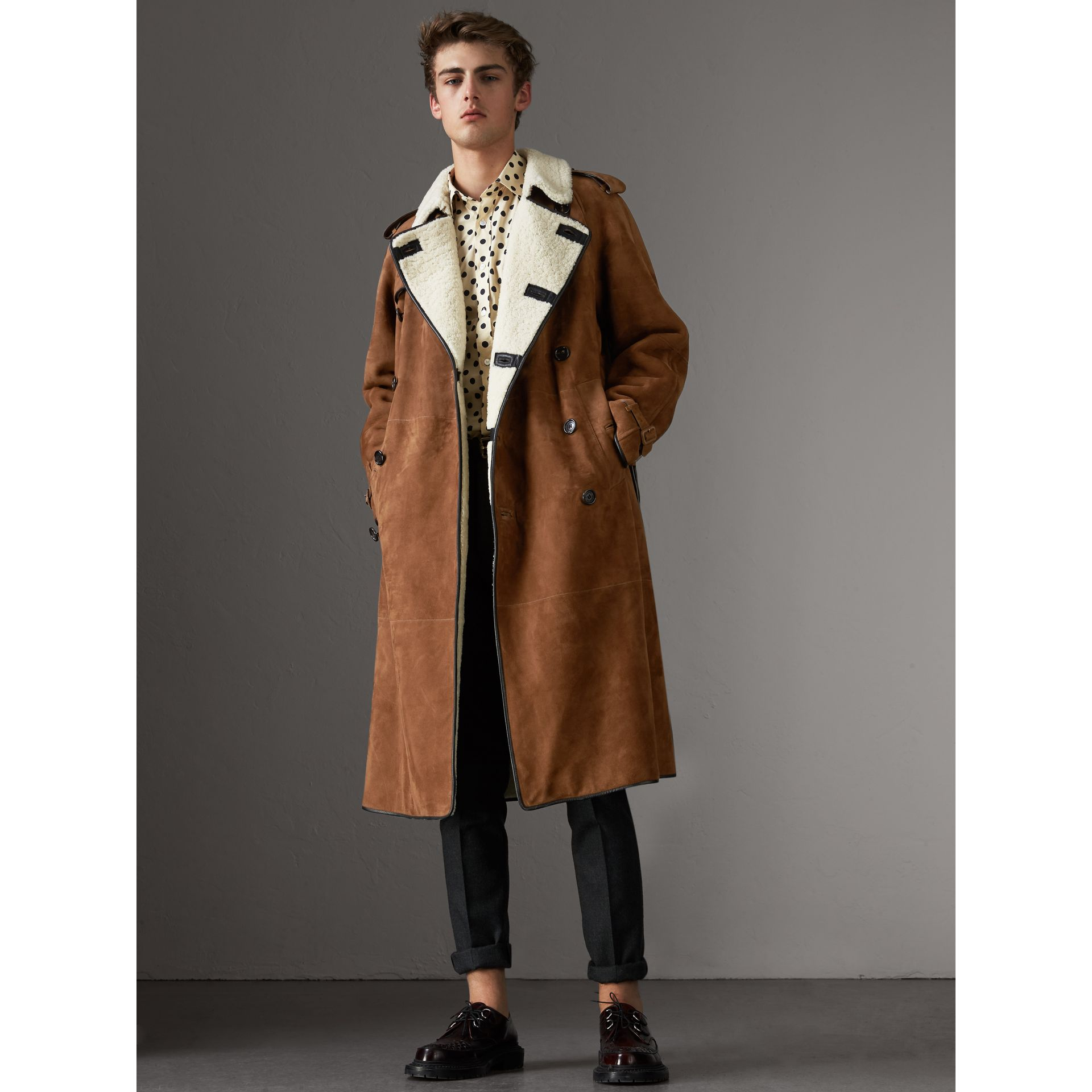 Suede and Shearling Trench Coat in Tan - Men | Burberry - gallery image 5