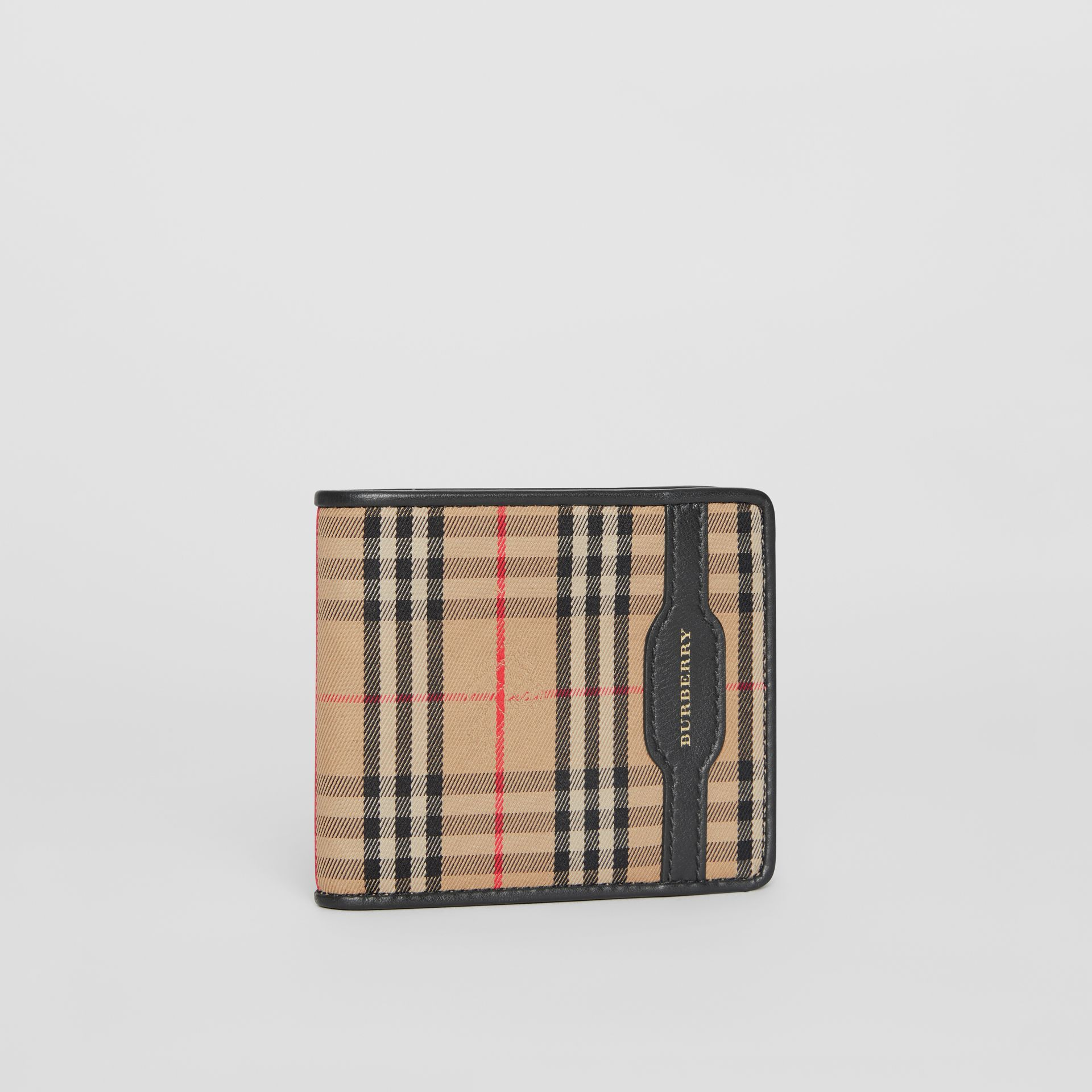1983 Check and Leather International Bifold Wallet in Black - Men | Burberry Australia - gallery image 4