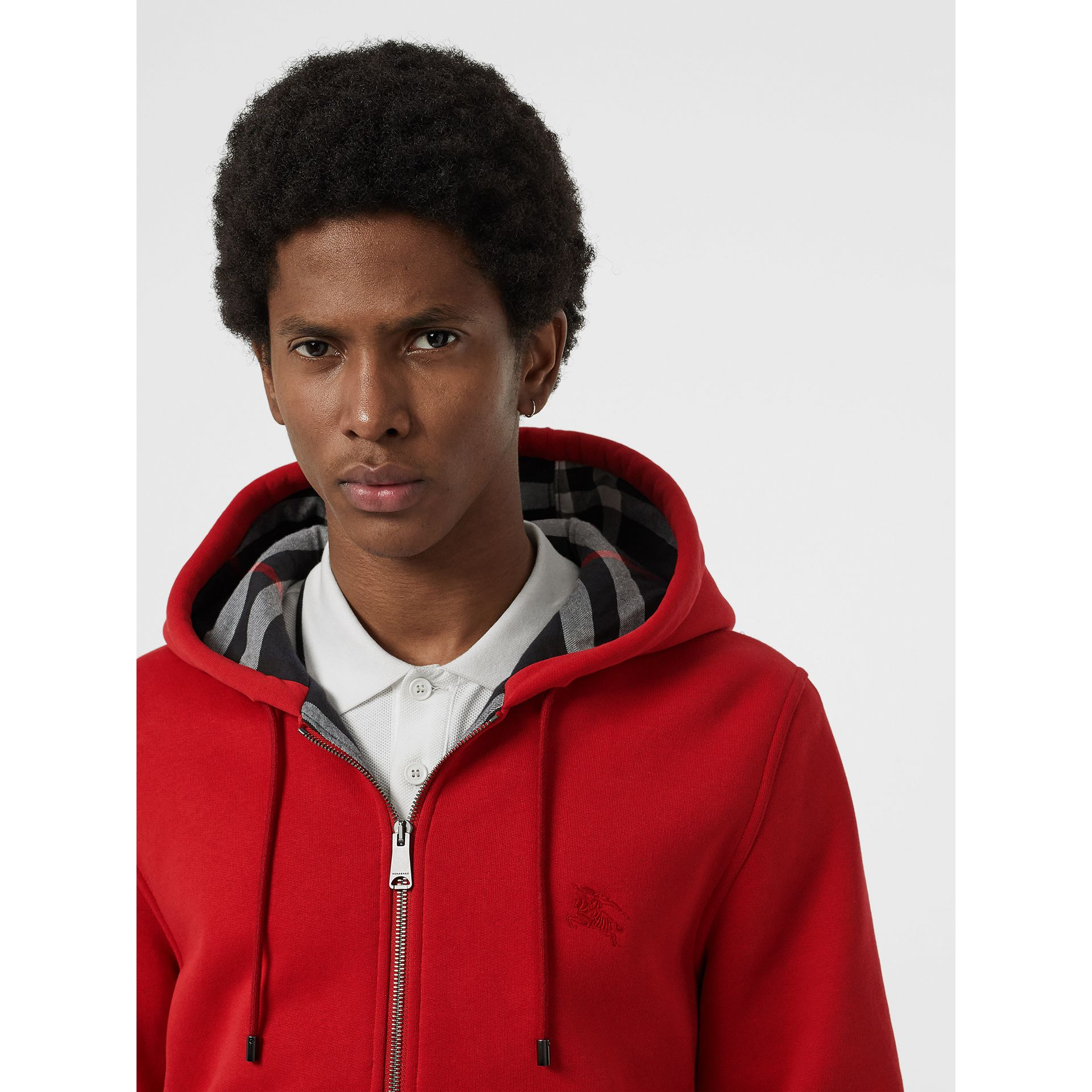 Check Detail Jersey Hooded Top in Military Red - Men | Burberry Canada - gallery image 1