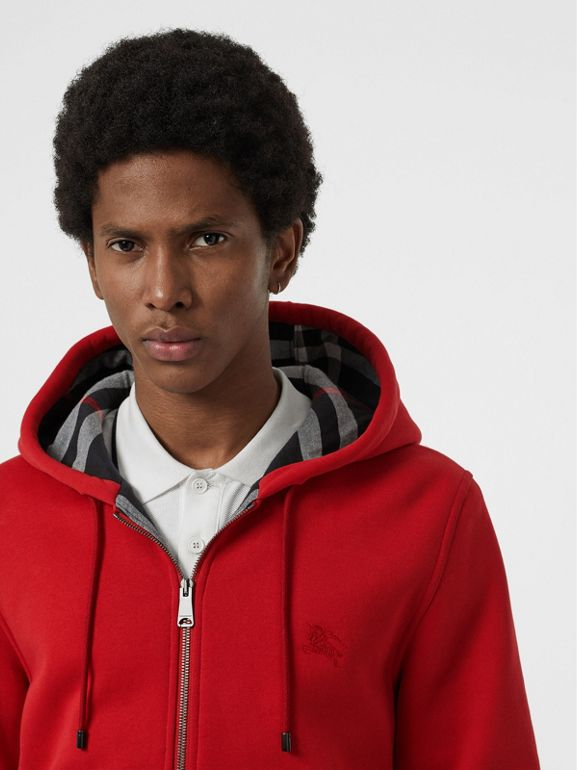 Check Detail Jersey Hooded Top in Military Red - Men | Burberry - cell image 1
