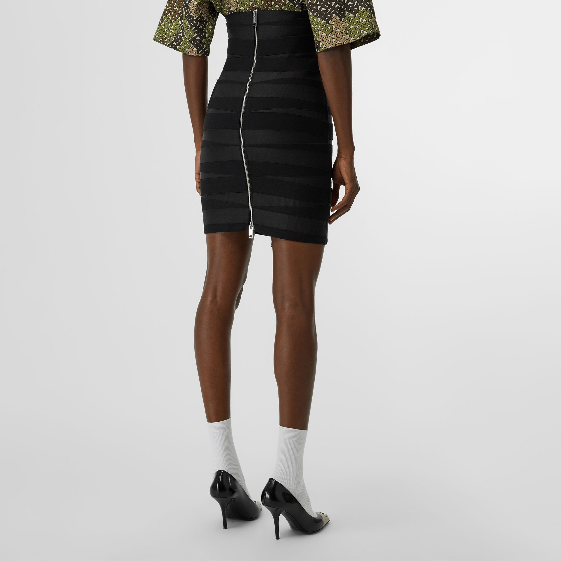 Stretch Zip-front Bandage Skirt in Black - Women | Burberry - gallery image 2