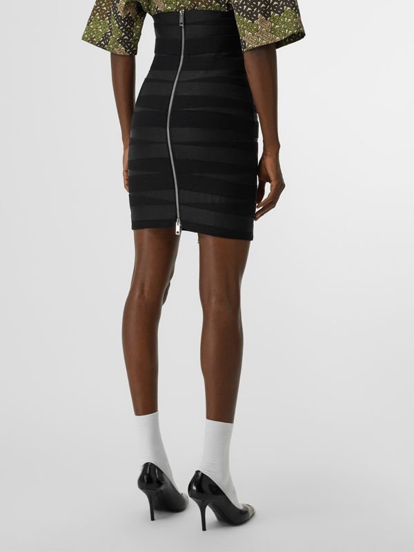 Stretch Zip-front Bandage Skirt in Black - Women | Burberry United Kingdom - cell image 2
