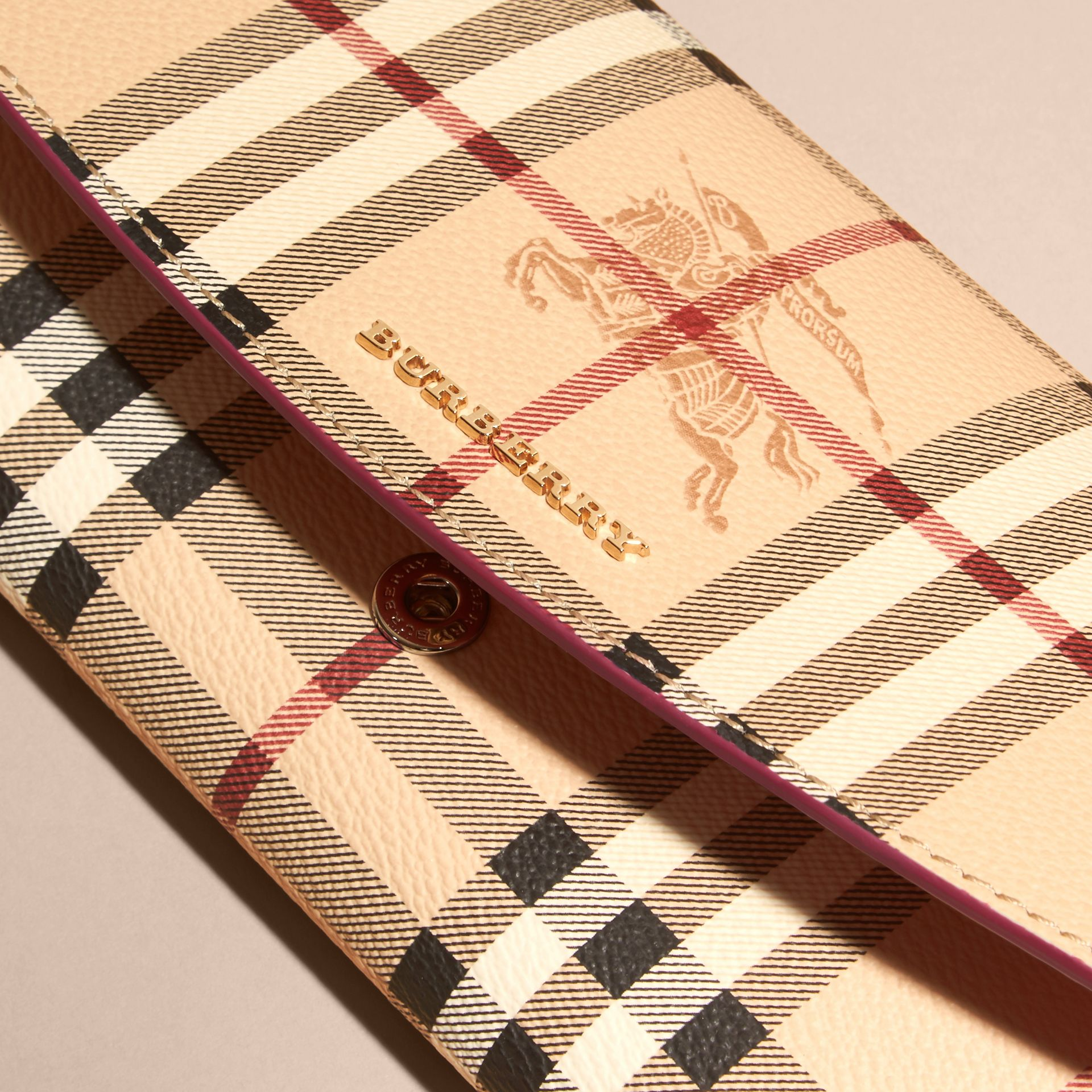 Haymarket Check and Leather Continental Wallet in Plum Pink - Women | Burberry - gallery image 2
