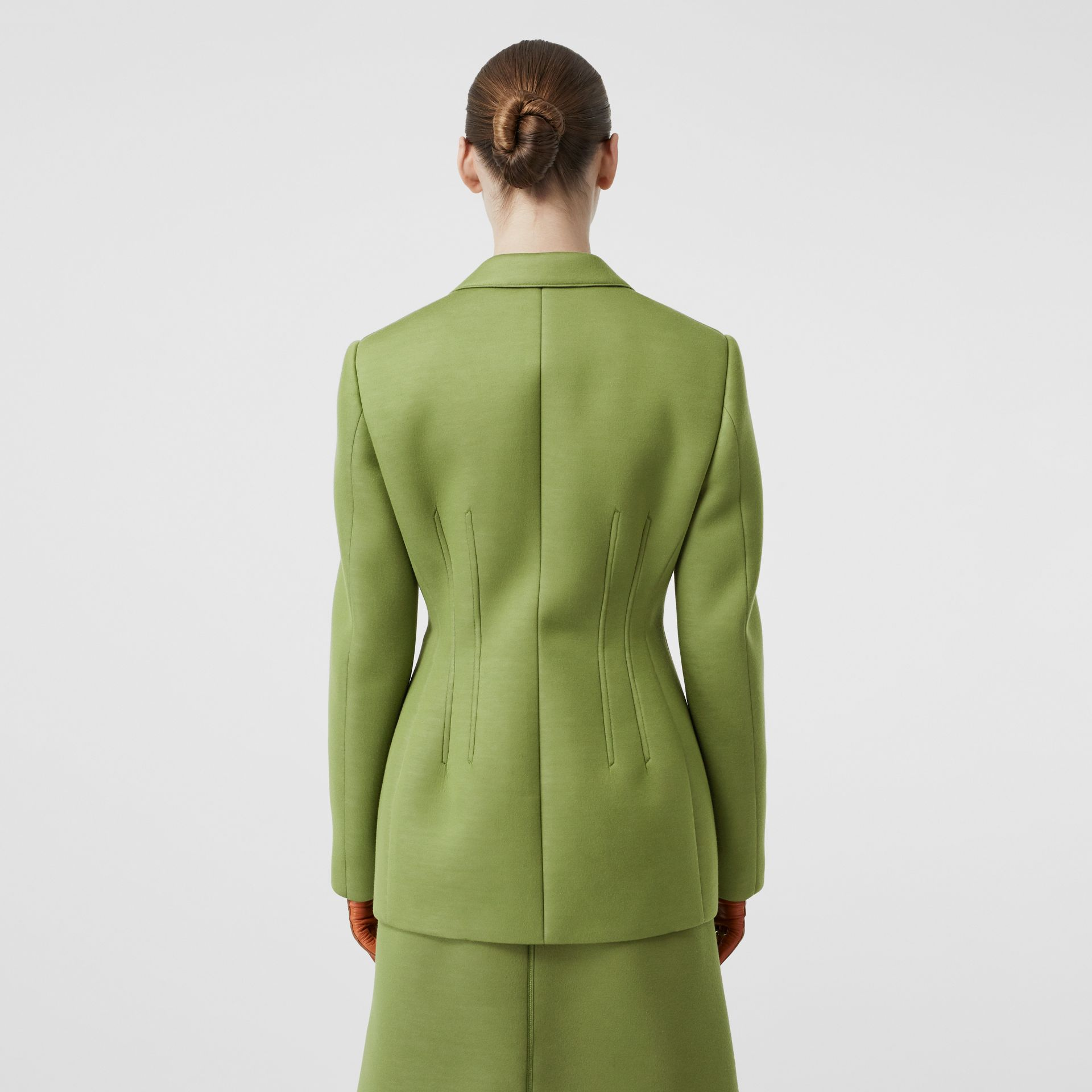 Double-faced Neoprene Tailored Jacket in Cedar Green - Women | Burberry - gallery image 2