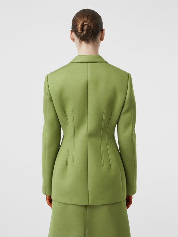Double-faced Neoprene Tailored Jacket in Cedar Green - Women | Burberry - cell image 2