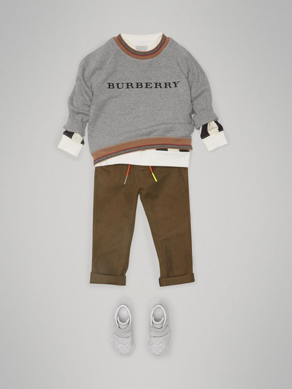 Cotton Linen Drawcord Trousers in Olive | Burberry Canada - cell image 2