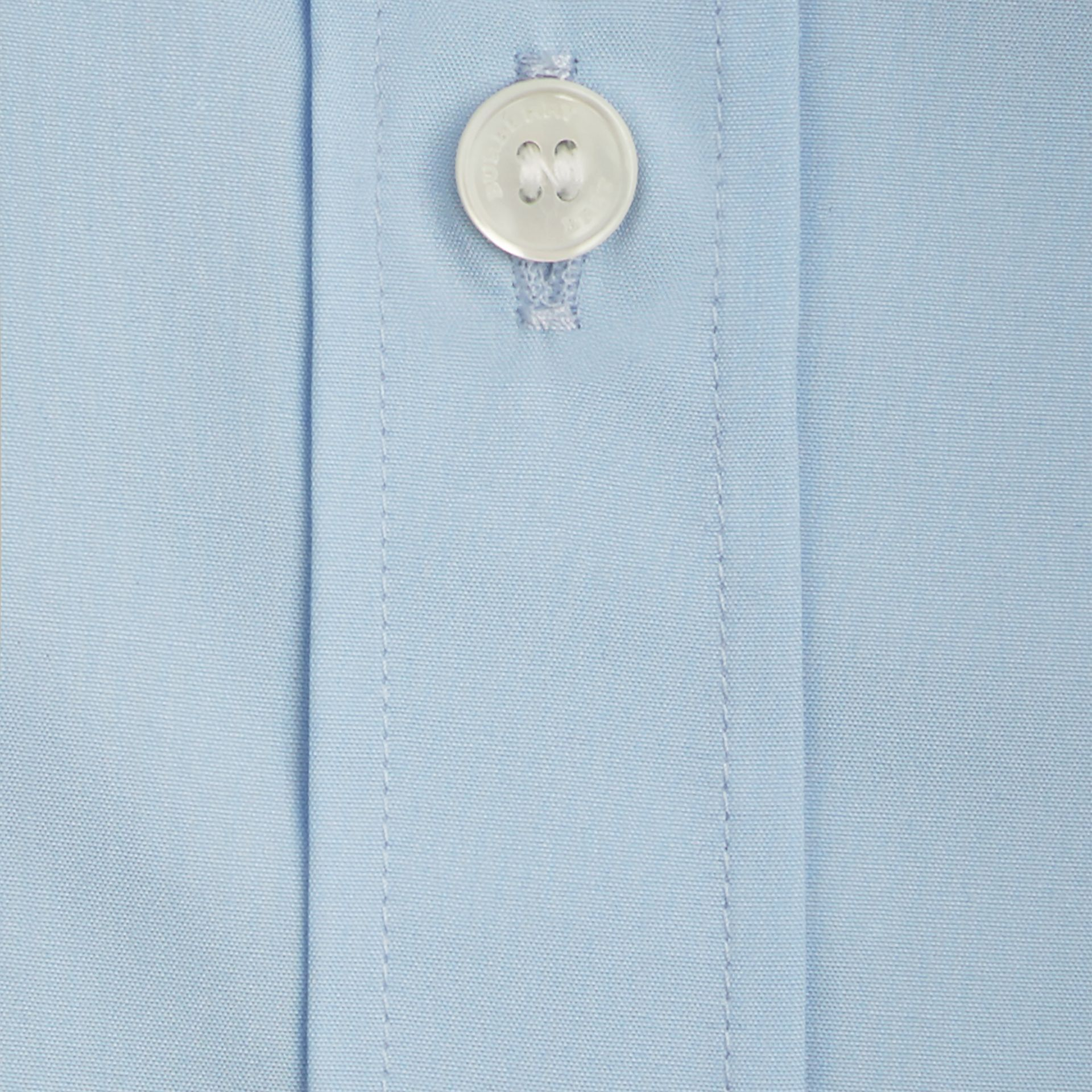 Check Detail Stretch Cotton Poplin Shirt Pale Blue - gallery image 2