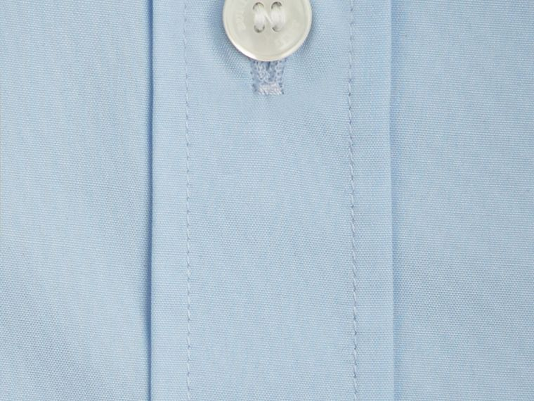 Check Detail Stretch Cotton Poplin Shirt in Pale Blue - Men | Burberry - cell image 1
