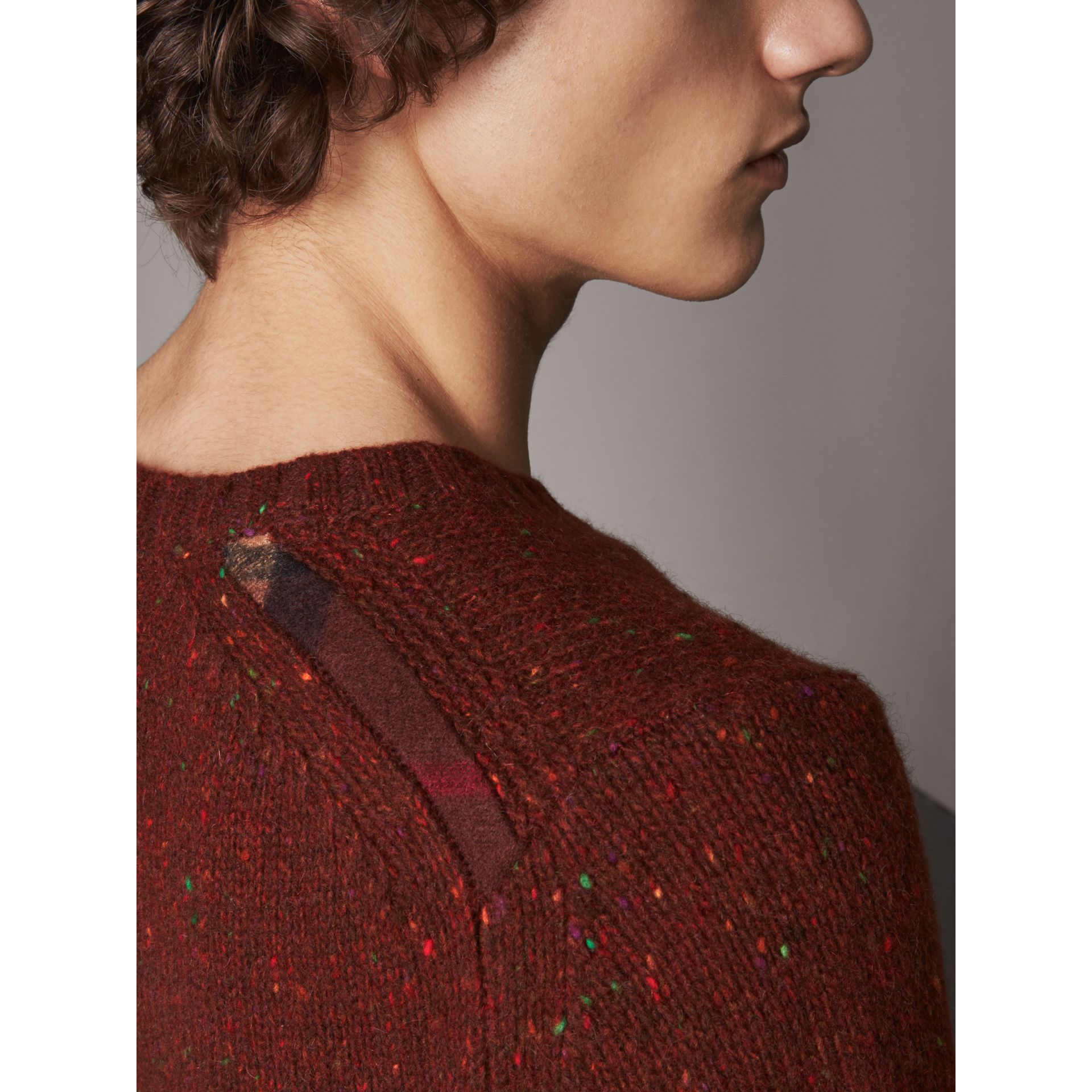 Wool Cashmere Mohair Tweed Sweater in Mahogany Red - Men | Burberry - gallery image 2