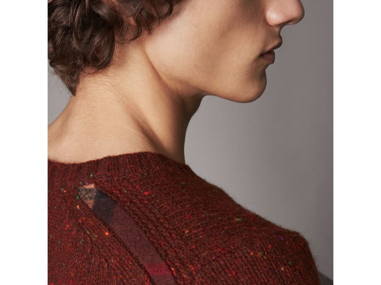Flecked Wool Cashmere Mohair Sweater in Mahogany Red - Men | Burberry - cell image 1