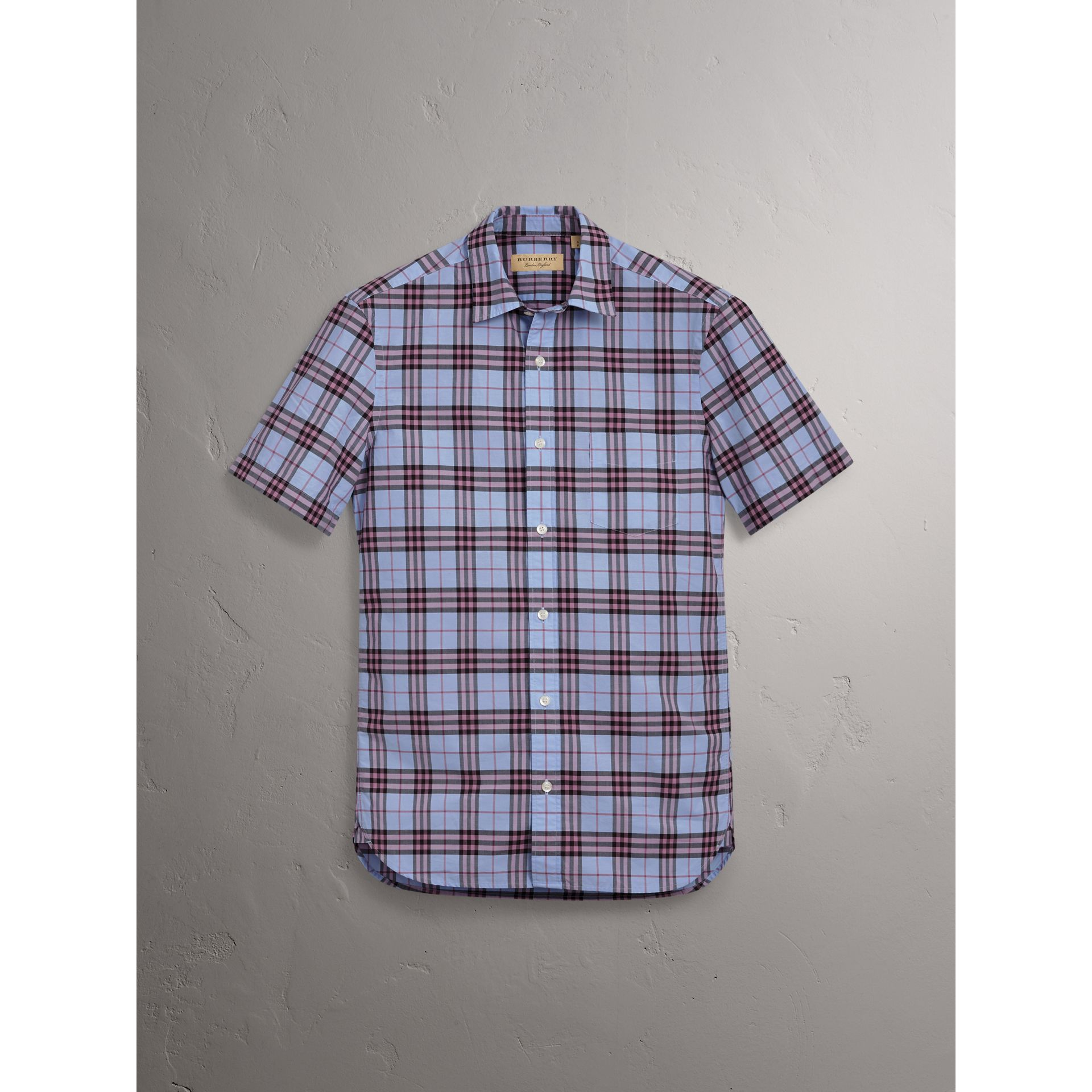 Short-sleeve Check Cotton Shirt in Lavender Blue - Men | Burberry United Kingdom - gallery image 3