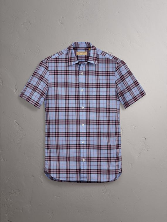 Short-sleeve Check Cotton Shirt in Lavender Blue - Men | Burberry Australia - cell image 3