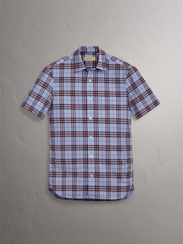 Short-sleeve Check Cotton Shirt in Lavender Blue - Men | Burberry - cell image 3