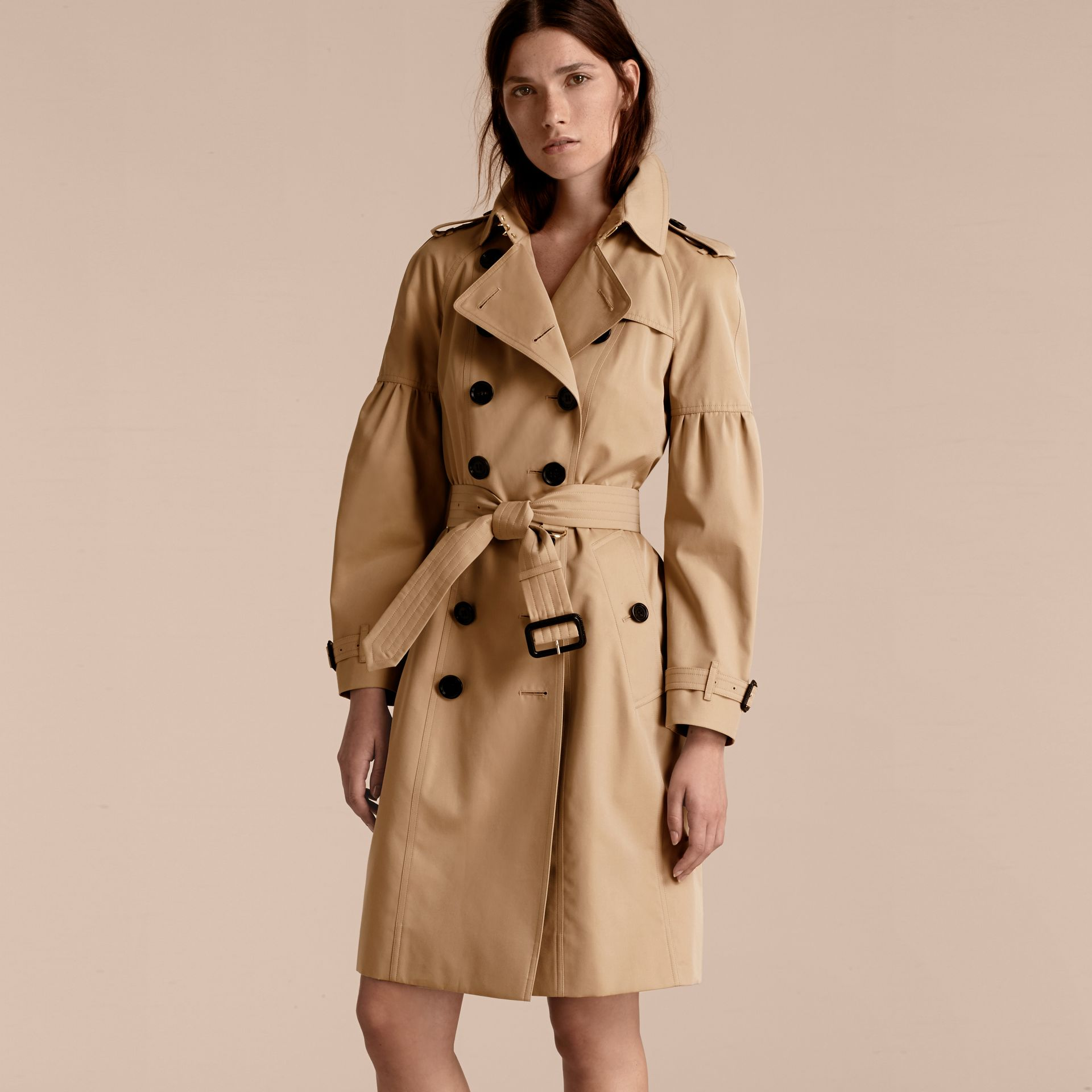 Honey Cotton Gabardine Trench Coat with Puff Sleeves Honey - gallery image 7