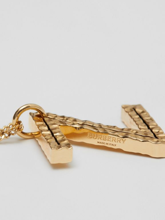 Collana con ciondolo a forma di Z in metallo placcato oro (Chiaro) - Donna   Burberry - cell image 1