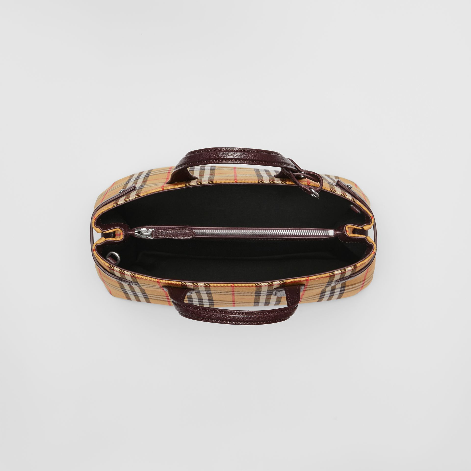 The Medium Banner in Vintage Check and Leather in Deep Claret - Women | Burberry - gallery image 5