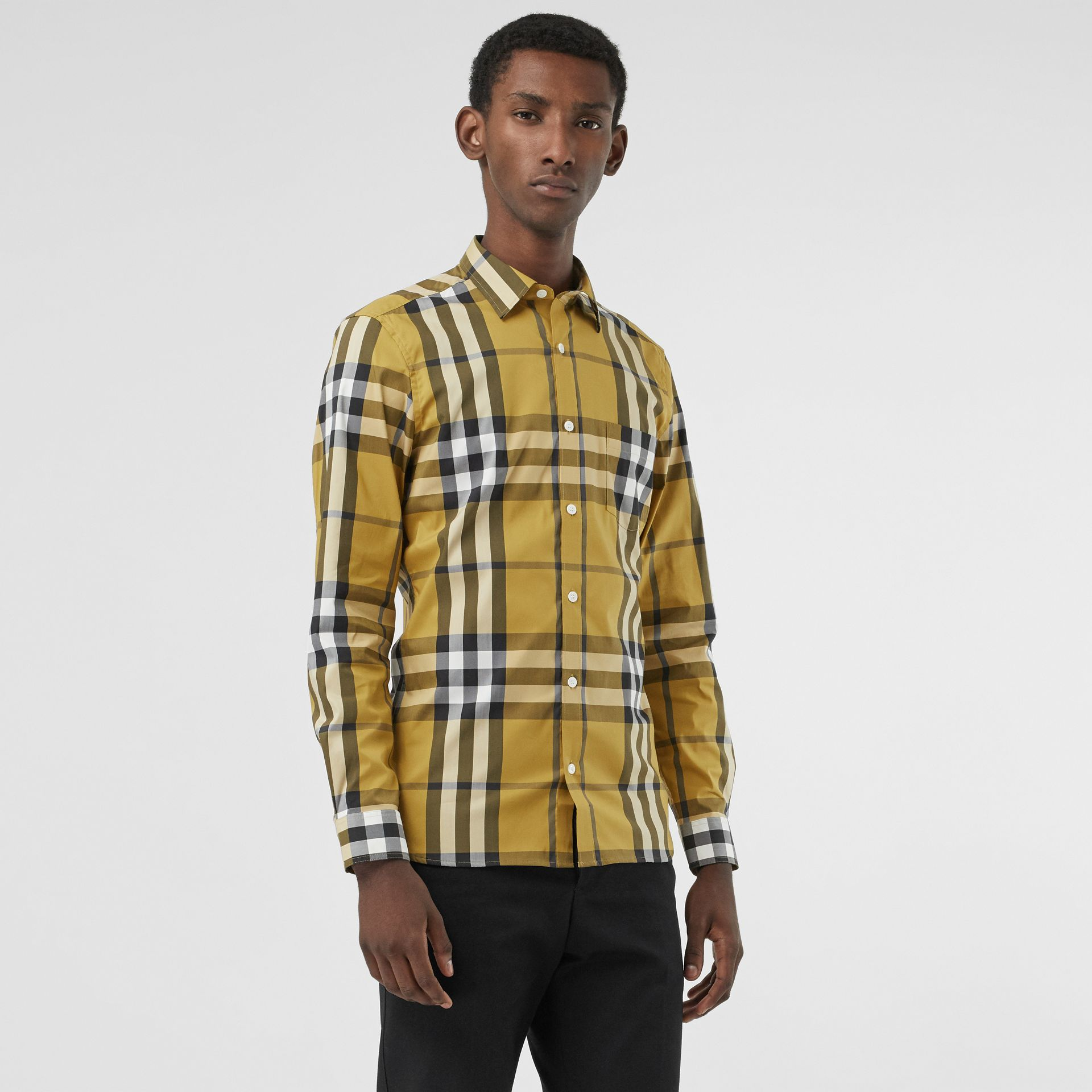 Check Stretch Cotton Shirt in Yellow - Men | Burberry - gallery image 0
