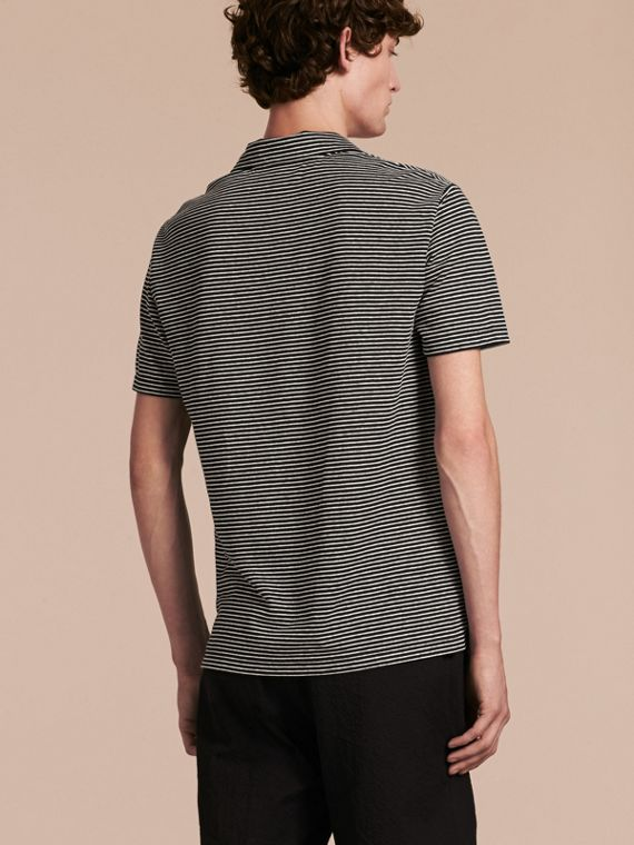 Striped Cotton Linen Polo Shirt - cell image 2