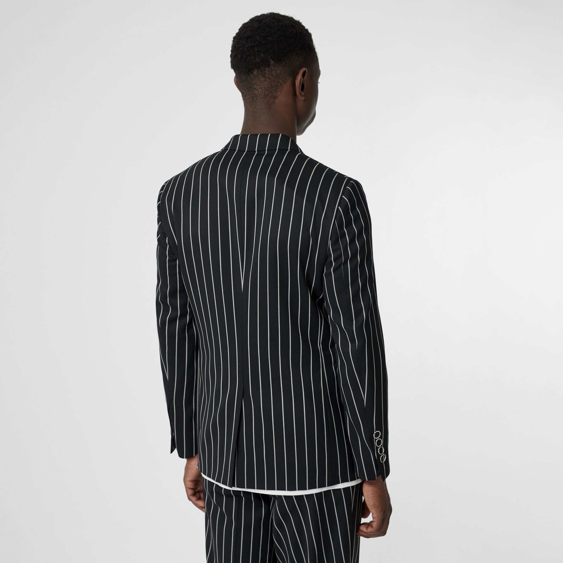 Slim Fit Press-stud Pinstriped Wool Tailored Jacket in Black - Men | Burberry - gallery image 2
