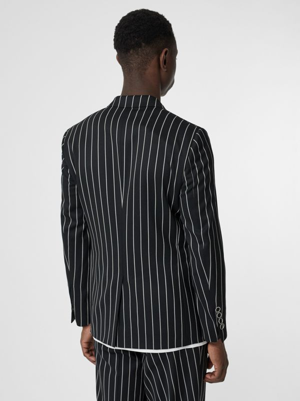 Slim Fit Press-stud Pinstriped Wool Tailored Jacket in Black - Men | Burberry - cell image 2