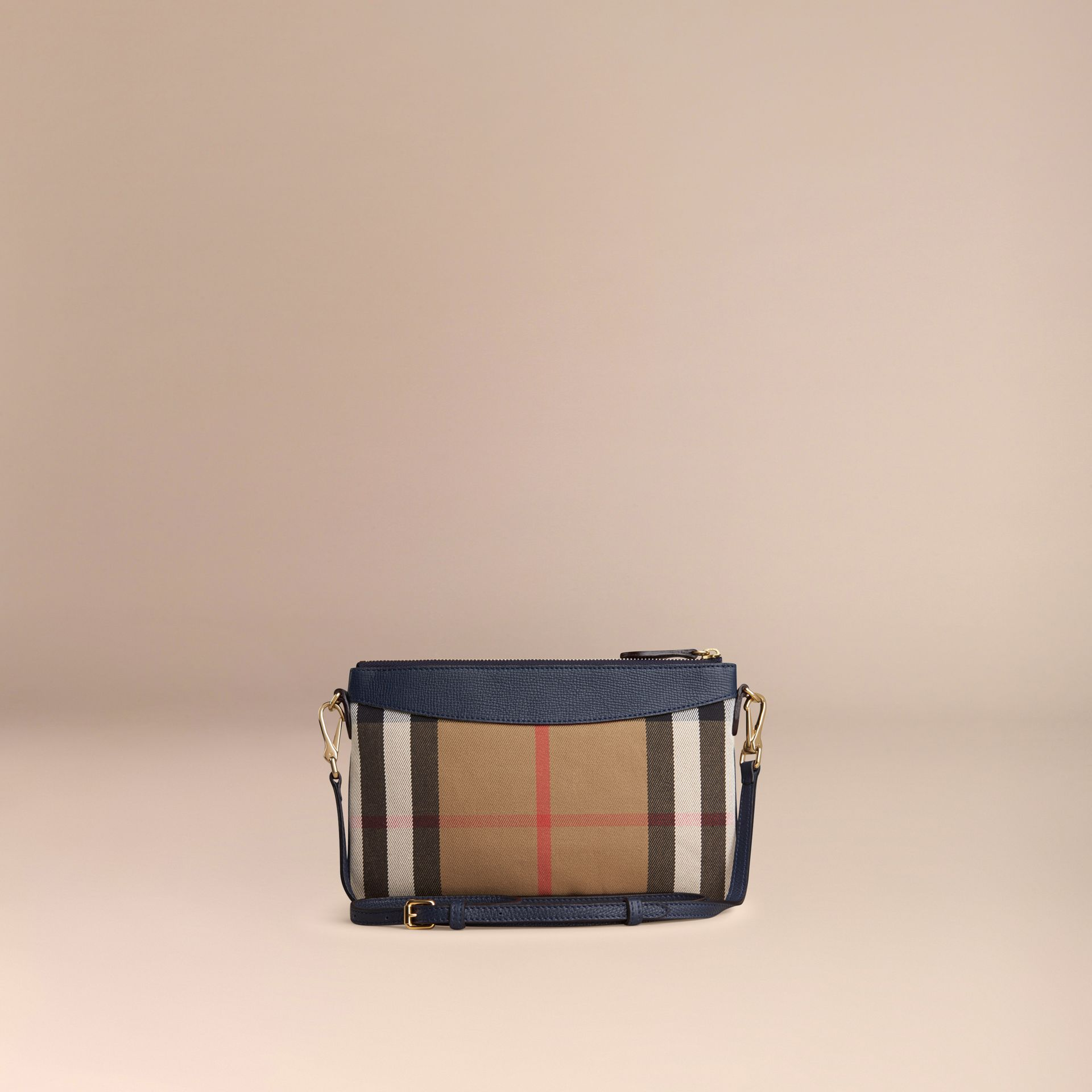 House Check and Leather Clutch Bag in Ink Blue - Women | Burberry - gallery image 4