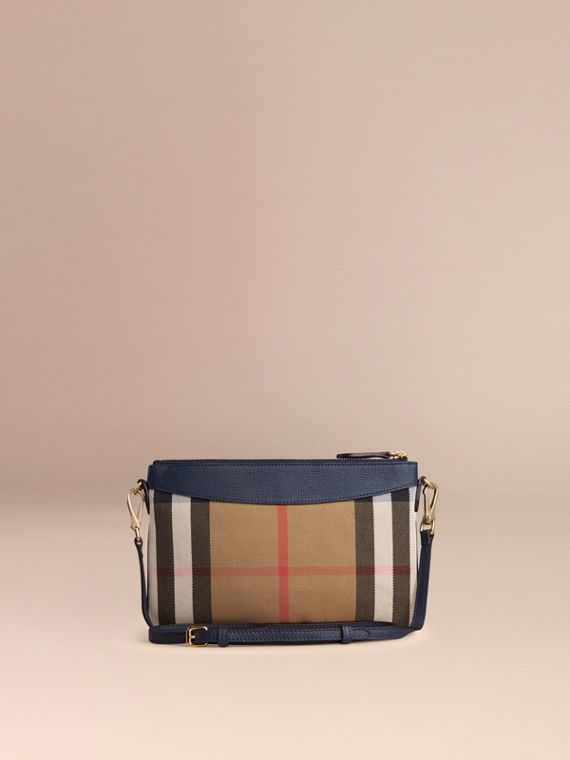 House Check and Leather Clutch Bag in Ink Blue - Women | Burberry - cell image 3