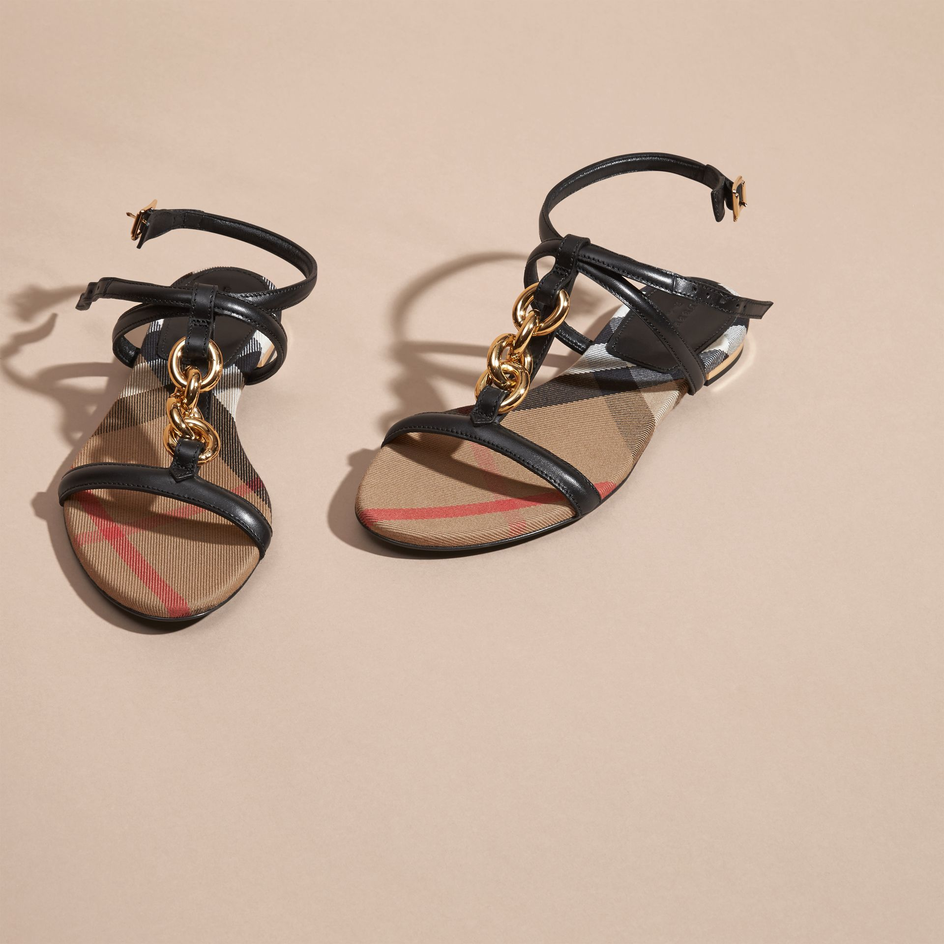 Black Chain Detail Leather Sandals Black - gallery image 3