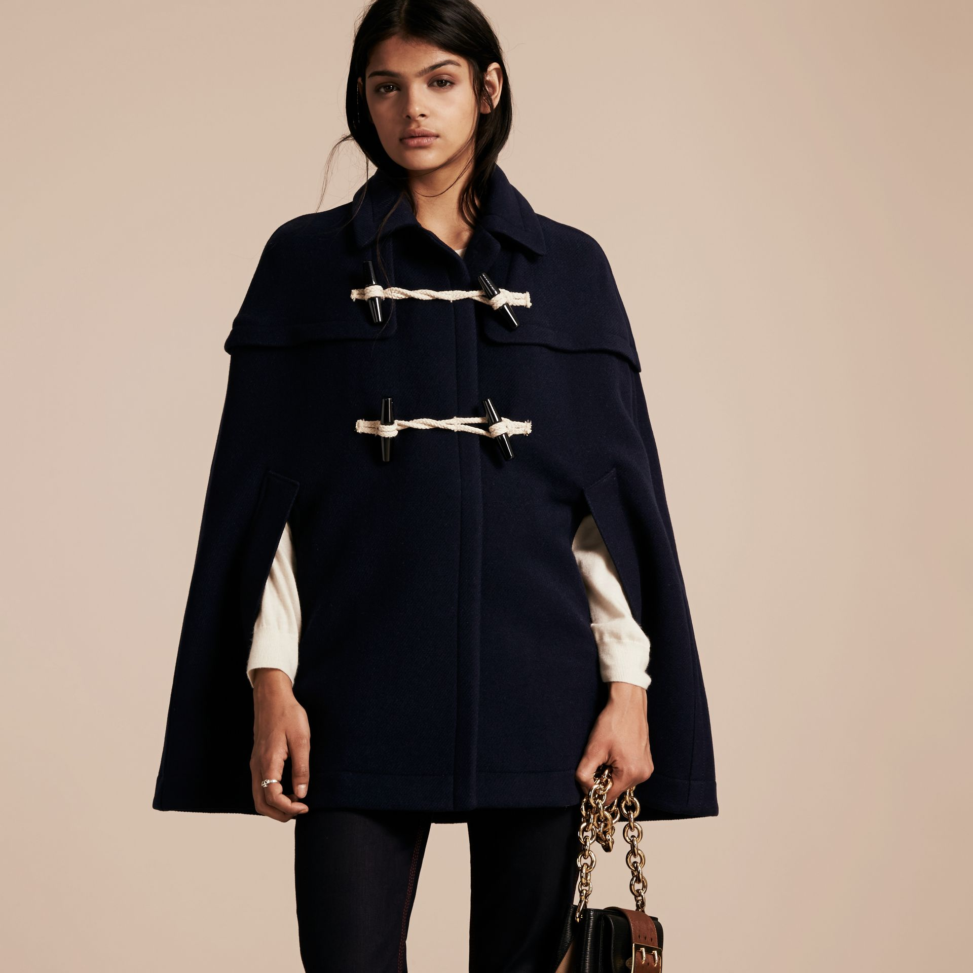 Navy Wool Cashmere Duffle Cape Coat Navy - gallery image 6