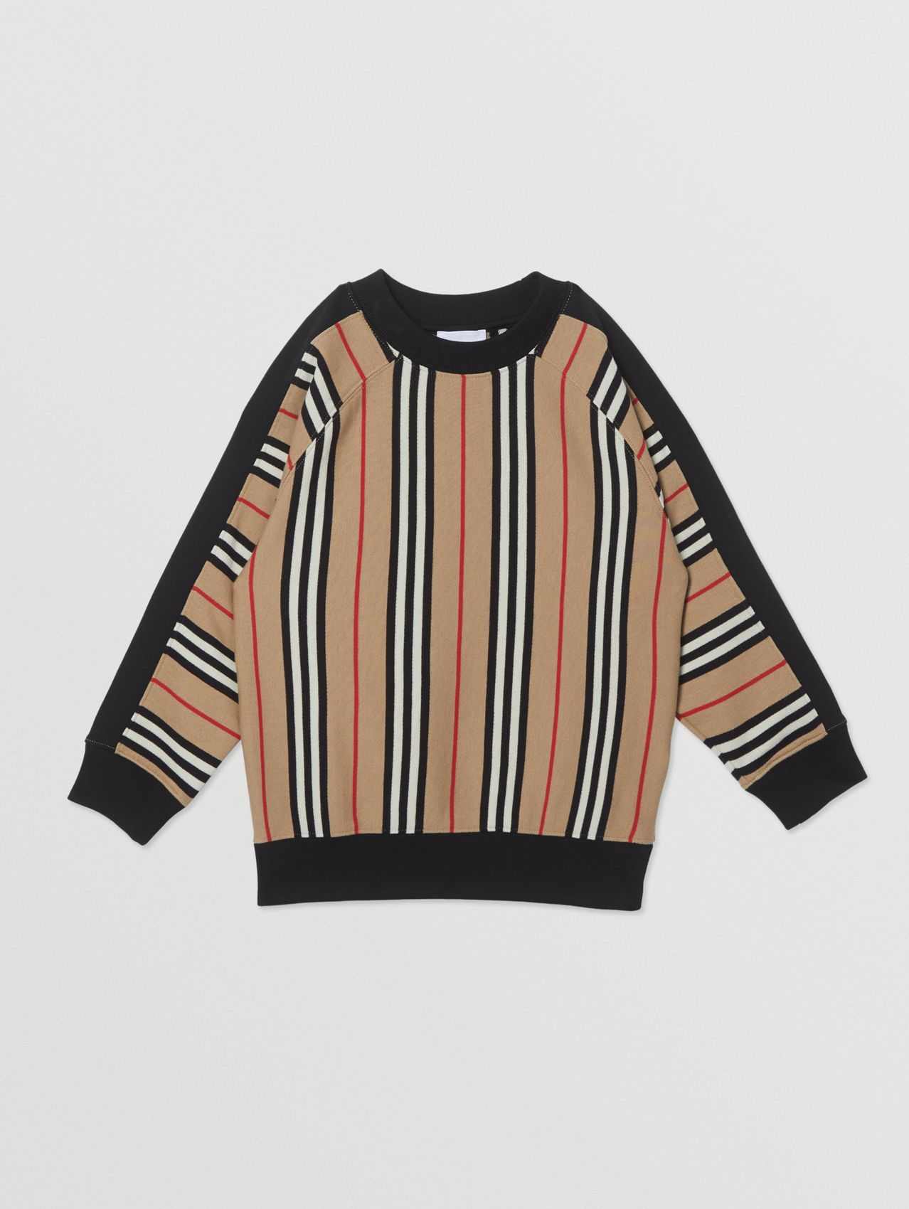 Icon Stripe Cotton Sweatshirt in Archive Beige
