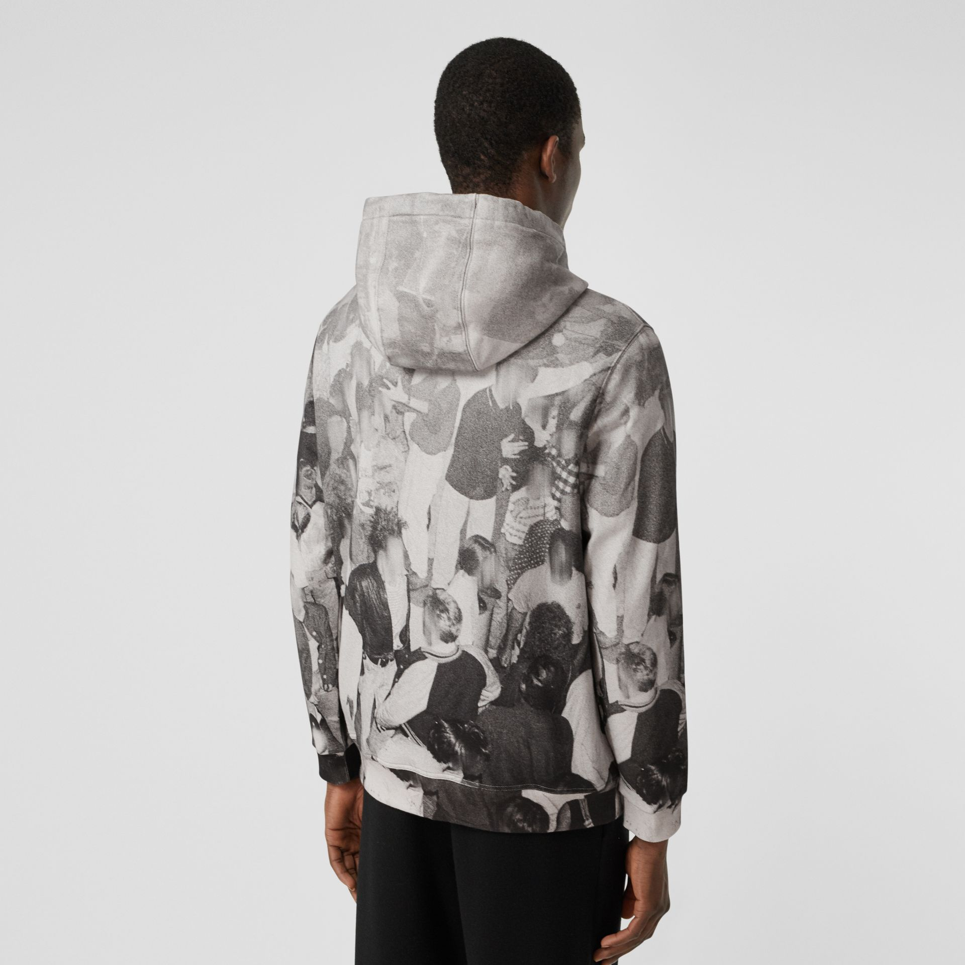 Rave Print Cotton Hoodie in Monochrome - Men | Burberry - gallery image 2