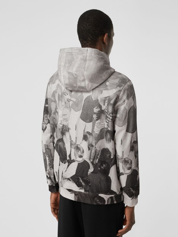 Rave Print Cotton Hoodie in Monochrome - Men | Burberry - cell image 2