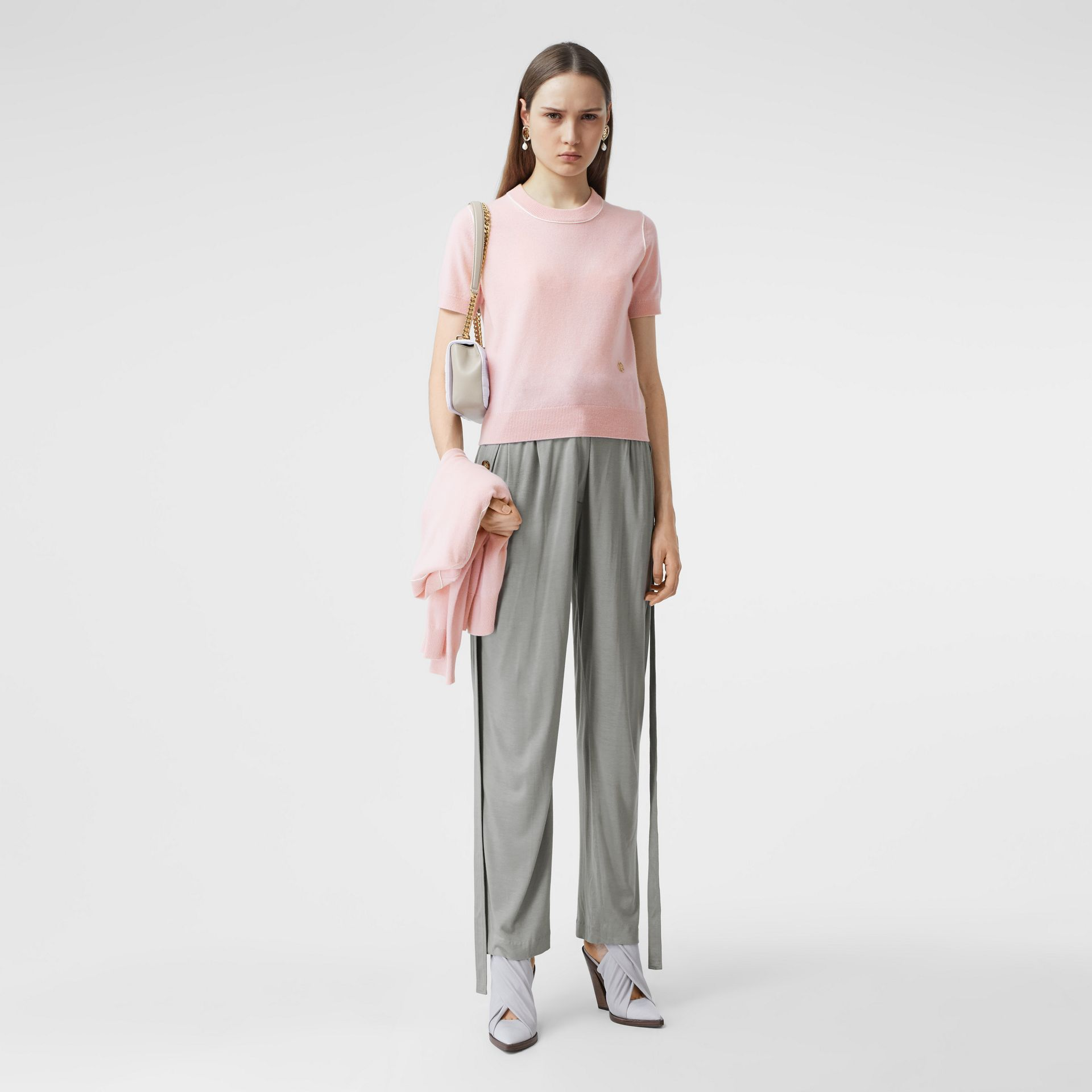Short-sleeve Monogram Motif Cashmere Top in Copper Pink - Women | Burberry United Kingdom - gallery image 5