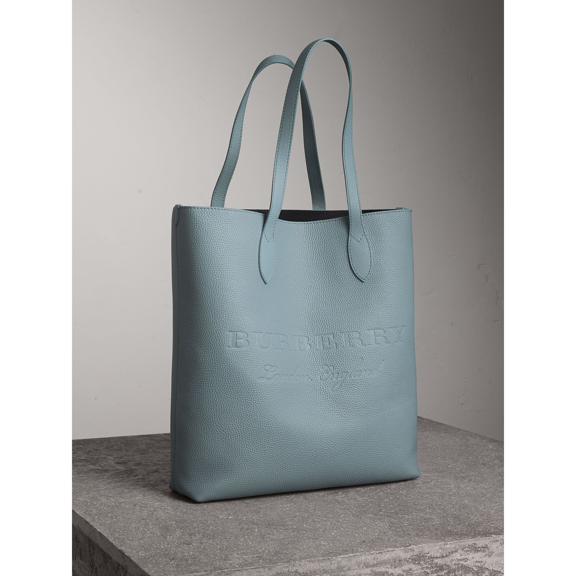 Medium Embossed Leather Tote in Dusty Teal Blue | Burberry - gallery image 7