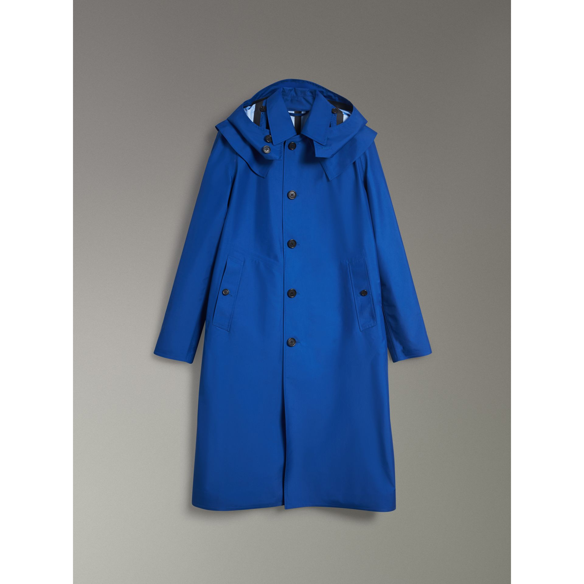 Detachable Hood Showerproof Car Coat in Bright Navy - Men | Burberry United Kingdom - gallery image 3