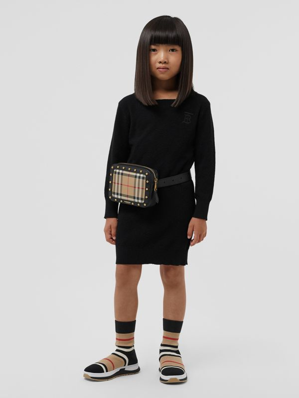 Monogram Motif Cashmere Sweater Dress in Black | Burberry United States - cell image 2