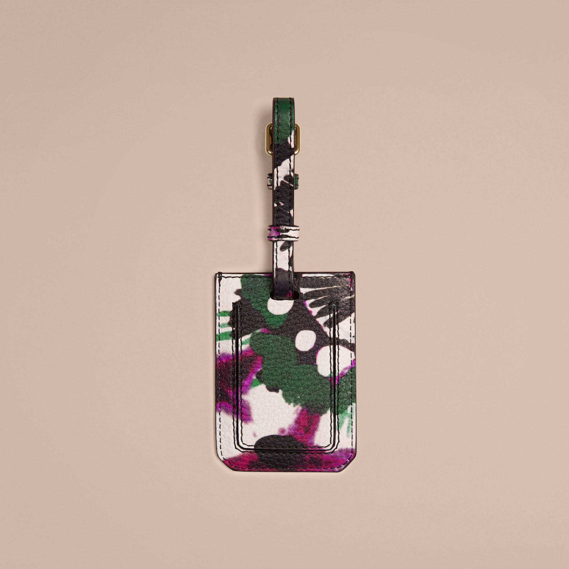 Deep claret Tie-dye Print Grainy leather Luggage Tag Deep Claret - gallery image 2