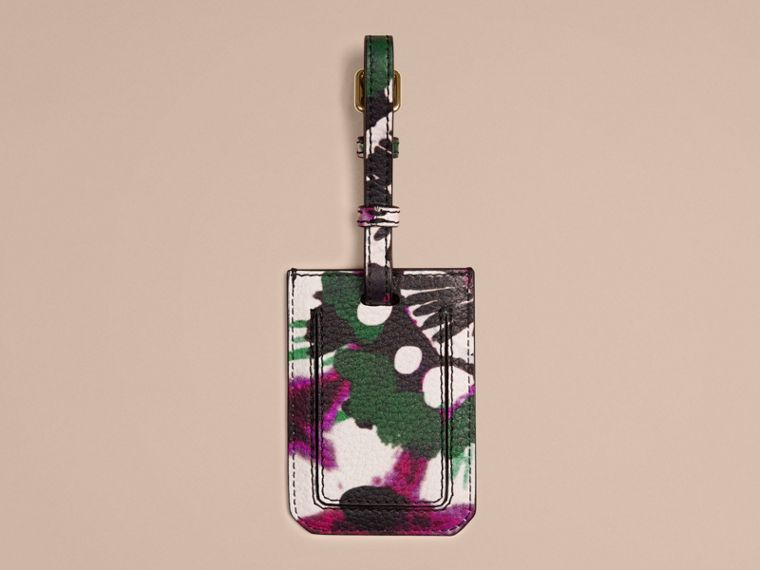 Deep claret Tie-dye Print Grainy leather Luggage Tag Deep Claret - cell image 1