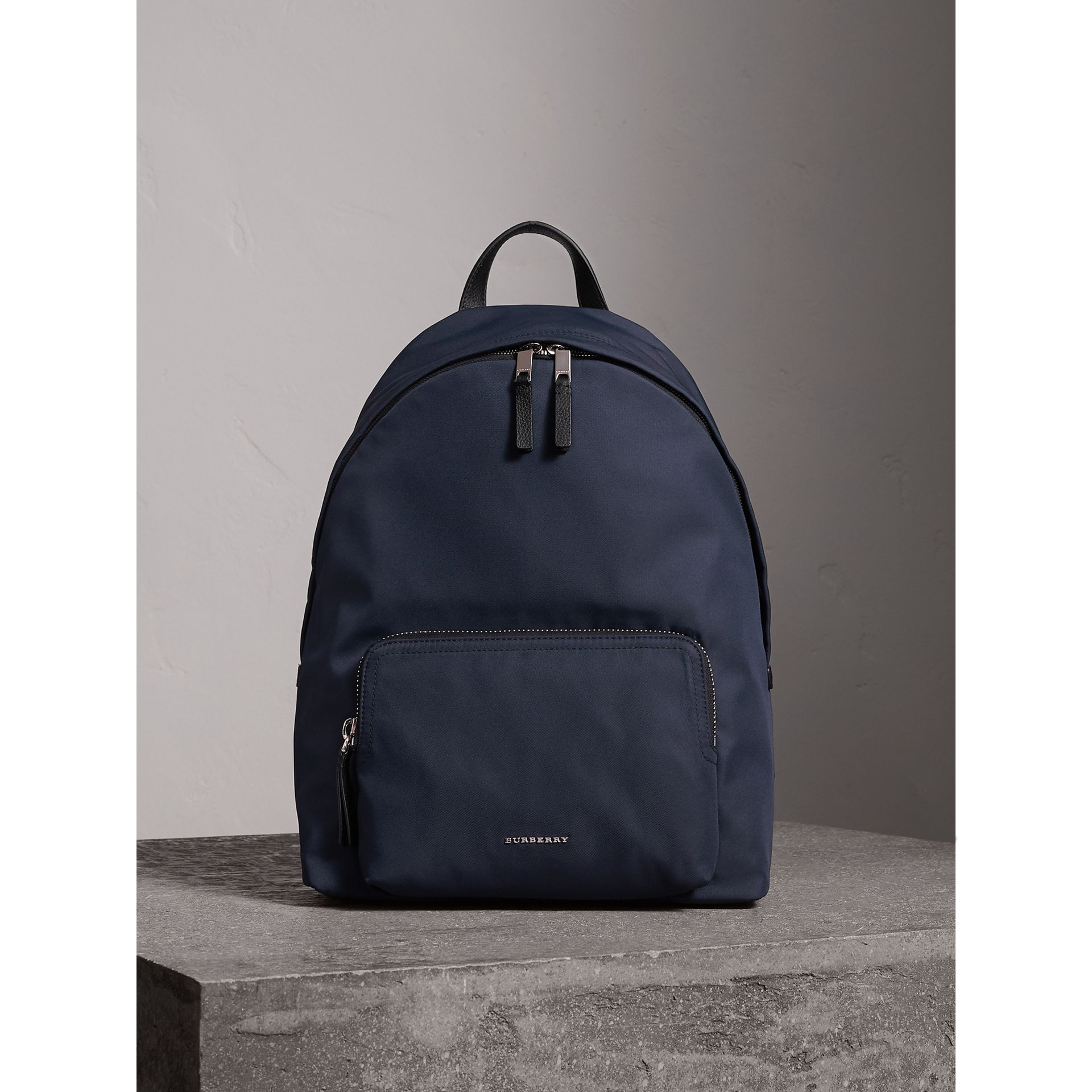 Leather Trim Nylon Backpack in Dark Navy - Men | Burberry United Kingdom - gallery image 1