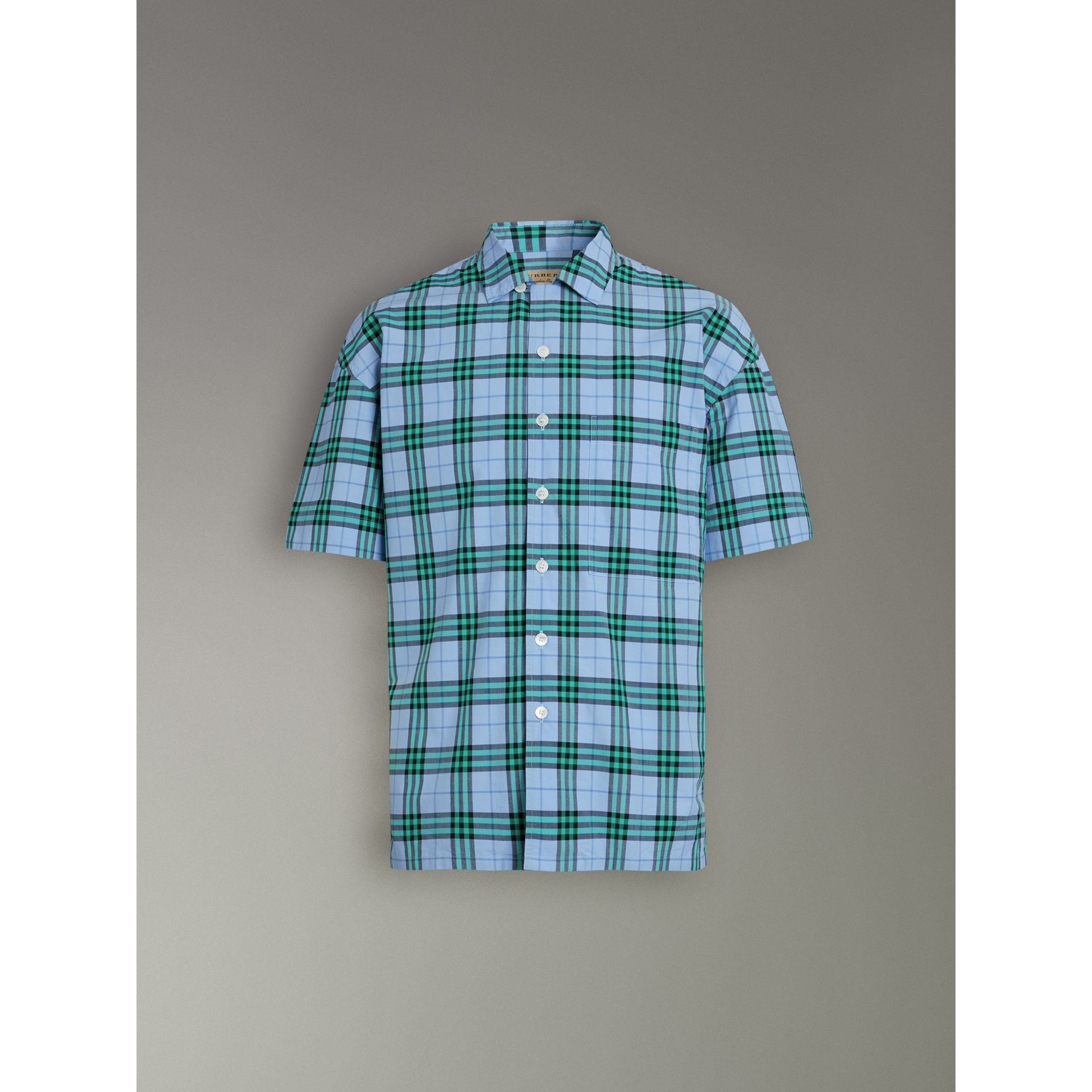 Short-sleeve Check Cotton Shirt in Blue Topaz - Men | Burberry United Kingdom - gallery image 3