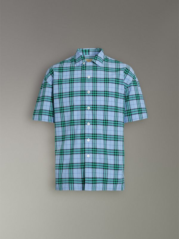 Short-sleeve Check Cotton Shirt in Blue Topaz - Men | Burberry United Kingdom - cell image 3