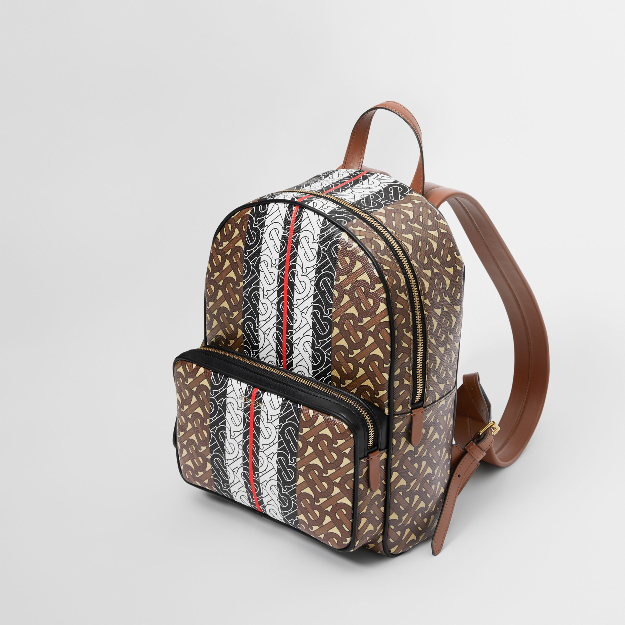 Monogram Stripe Print E-canvas Backpack in Bridle Brown | Burberry - 3