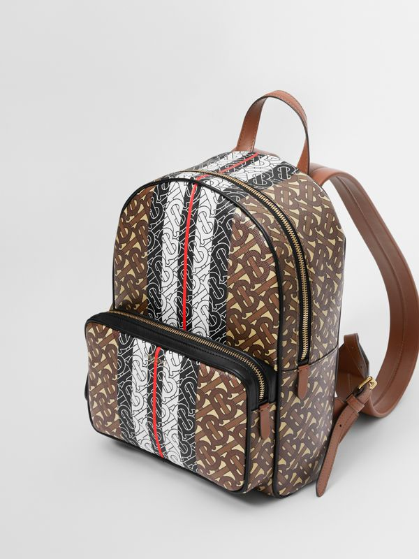 Monogram Stripe Print E-canvas Backpack in Bridle Brown - Women | Burberry - cell image 2
